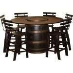 Rustic Whiskey Barrel Pub Table Set